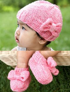 Knit Bow Baby Hat  amp  Bootie Set - Free Patterns  519674e47449