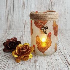 Chicken Jar Light Upcycled nightlight Decoupage recycled