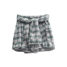 Tartan Plaid Waist-Tie Shorts (29 CAD) ❤ liked on Polyvore featuring shorts, skirts, bottoms, shirts, patterned shorts, tartan shorts, print shorts, tie waist shorts and plaid shorts