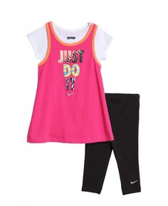 New Nike Baby and Toddler Girls' 2 Piece Pink T-shirt Black Athletic Capri Leggings Nike Toddler Clothes