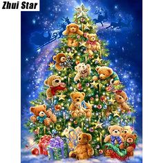 "5D DIY Diamond Painting ""Christmas Bear"" Embroidery Full Square Diamond Cross Stitch Rhinestone Mosaic Painting Home Decor Gift"