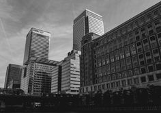 The Canary Wharf business district located in the east side of London, UK