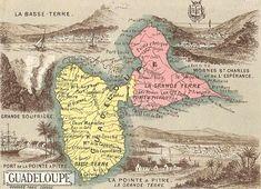 Carte de la Guadeloupe. Chromolithographie du XXe siècle