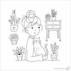 Clear Stamp Set Hair Bun Girl card making by TamarNahirYanai Embroidery Bags, Hand Embroidery Stitches, Embroidery Techniques, Machine Embroidery, Embroidery Designs, Hand Stitching, Simple Embroidery, Knitting Stitches, Diy Bordados