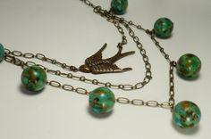 Turquoise and Brass Bird Necklace by ksyardbird, $41.00