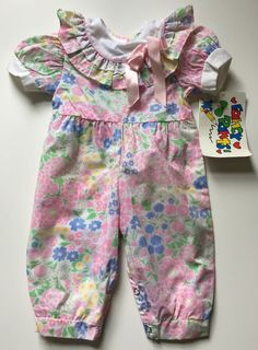 Vintage Floral One Piece Short Sleeve Baby Girl Romper 3-6 Months by Fancy Pants