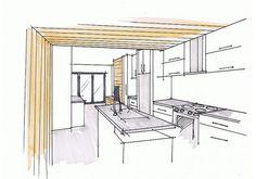 Kitchen concept sketch, by Inhabit Home Design.