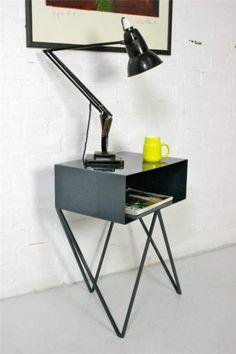 Indigo Blue Steel Metal Side Table / Sideboard Vintage Industrial Mid-Century
