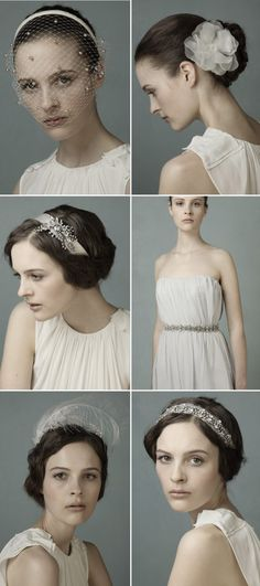 vintage wedding hair ideas- headpieces by Jennifer Behr