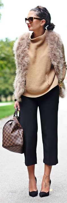 Daily New Fashion : Best Women's Street Fashion for Fall/Winter. Fur Vest, Camel Sweater, Cropped Pants