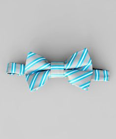 Look what I found on #zulily! Turquoise & Gray Stripe Bow Tie - Kids by Littlest Prince Couture #zulilyfinds