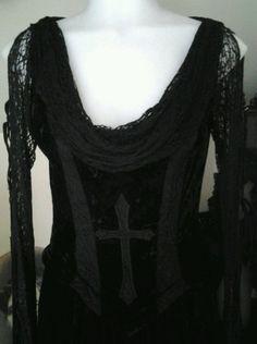 Lip Service RARE Cross Embroiderd Velvet Dress Goth Steampunk Victorian #LipService #AwesomeDress