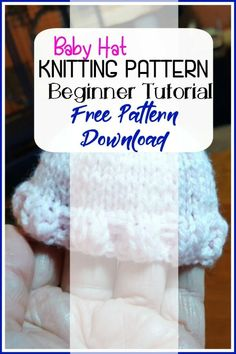Baby Hat Knitting Pattern-Beginner Tutorial and Fisherman Rib Knit Option Baby Hat Knitting Pattern, Baby Hats Knitting, Knitted Baby Blankets, Knitting Stitches, Free Knitting, Knitted Hats, Knitting For Beginners, Knitting Tutorials, Free Pattern Download
