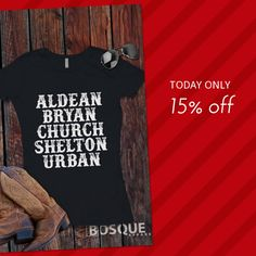 Today Only!  this item.  Follow us on Pinterest to be the first to see our exciting Daily Deals. Today's Product: Sale -  Aldean, Bryan, Church, Shelton, Urban Style Shirt The Men of Country T-Shirt Southern Style Shirt lettering - Ink Printed Buy now:  #country #countrymusic #fashion #tshirts #countrygirl #etsy #etsyshop #etsyfinds #etsygifts #musthave #loveit #photooftheday #picoftheday #love #OTstores #smallbiz #sale #dailydeal #dealoftheday #todayonly #instadaily