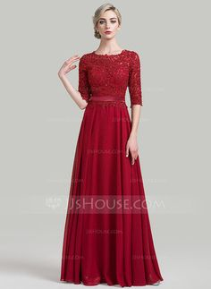 A-Line/Princess Scoop Neck Floor-Length Beading Sequins Zipper Up Sleeves 1/2 Sleeves No Burgundy General Plus Chiffon Height:5.7ft Bust:33in Waist:24in Hips:34in US 2 / UK 6 / EU 32 Mother of the Bride Dress