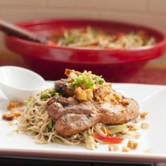 delicious BBQ sticky pork chops served with an Asian inspired soba noodle salad.