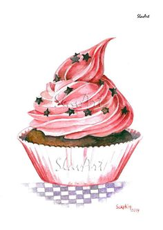 Still Life Cupcake Print Watercolor Painting Fine Art by SlavArt