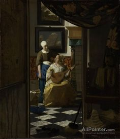 """Johannes Vermeer, """"The Love Letter,"""" c. oil on canvas, Rijksmuseum, purchased with the support of Vereniging Rembrandt Johannes Vermeer, Canvas Letters, Love Letters, Canvas Art, Painting Canvas, Marie Von Ebner Eschenbach, Renaissance, Vermeer Paintings, List Of Paintings"""