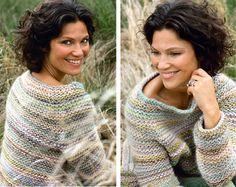 Flot sweater i retriller - Hendes Verden - Beautiful garter stitch raglan sweater in subdued colours FREE pattern in Danish (2/2) (hva)