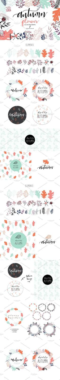 AUTUMN FLOWER III VECTOR FILE. Wedding Card Templates