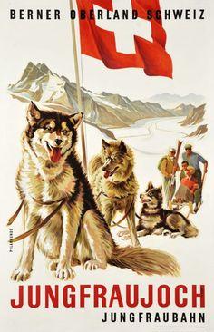 Art Deco poster: Polar Dogs - Jungfraujoch, Bernese Oberland, Switzerland