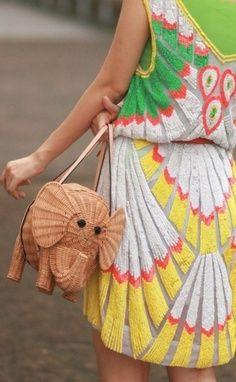 elephant bag, amazing texture on the dress