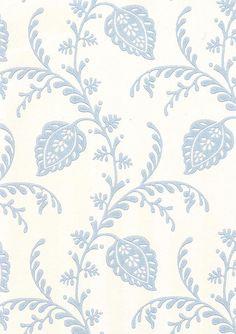 Pelham Wallpaper Pretty blue climbing floral design on off white