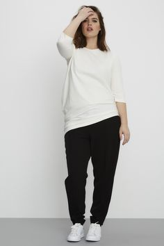 Universal Standard Genevette Gathered Crew-White