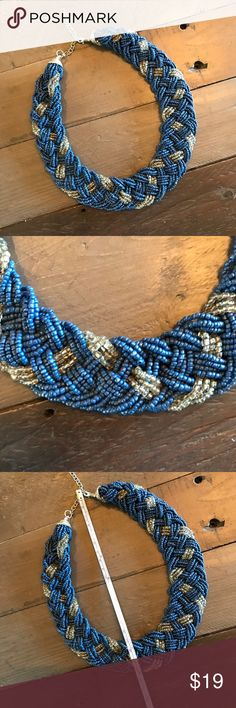 Blue Woven Collar Necklace Make a statement with this gorgeous and substantial piece! Blue and clear woven seed beads make up this gorgeous collar necklace. Jewelry Necklaces