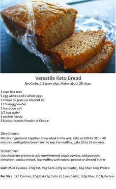 Versatile #Keto Flax Bread #lowcarb --- Skip the sweetener and use bread spices instead.