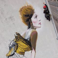 Steve Locatelli - This artist grew up in Brussels, where he was confronted early in street art. He started with stickers, to quickly falling into the markers and bombs. Here's one of his works in Belgium.