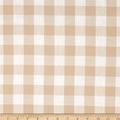 Gingham 1'' Checks Galore Beige from @fabricdotcom  This classic very lightweight woven yarn dyed gingham fabric is extremely versatile. It can be used to create stylish summer dresses, children's apparel and blouses. It can also be used to make tablecloths, curtains and even handkerchiefs. Remember to allow extra yardage for pattern matching.