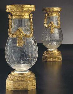 pair of LXVI ormolu-mtd cut glass vases ca 1770-5, 7H, $29K