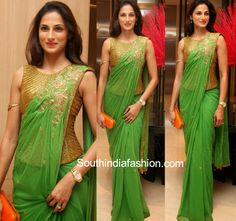 Shilpa Reddy in Green Saree and Gold Corset Blouse ~ Celebrity Sarees, Designer Sarees, Bridal Sarees, Latest Blouse Designs 2014