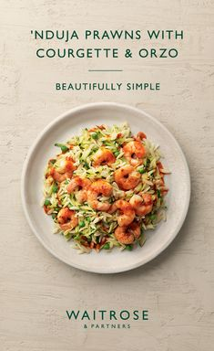 Buttery prawns in smoky, spicy Nduja, with garlicky courgette and fresh peas, ready in 20 minutes.  Pick up all the ingredients in one place at the Beautifully Simple chiller in store.  Simple to shop. Simple to cook.  Explore our Beautifully Simple recipe collection at waitrose.com/beautifullysimple. Prawn Recipes, Seafood Recipes, Pasta Recipes, Dinner Recipes, Healthy Eating Recipes, Nutritious Meals, Vegetarian Recipes, Cooking Recipes, Healthy Food