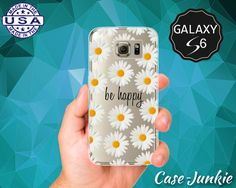 Be Happy Quote White Daisy Flower Pattern Wanelo Inspired Case for Clear Rubber Samsung Galaxy S6 and Galaxy S6 Edge Galaxy S7 and S7 Edge