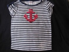 Gymboree-Navy-Blue-White-Pink-Sequined-Anchor-Striped-Top-5T-Blooming-Nautical