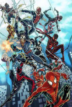 Spider-Verse by Sebastian Von Buchwald Amazing Spiderman, Spiderman Girl, Black Spiderman, Spiderman Spider, Spiderman Poses, Marvel Comic Universe, Marvel Art, Marvel Heroes, Comic Book Characters