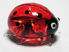 CRAFT COLLECTIBLE MINIATURE HAND BLOWN Art Red BEETLE GLASS Ladybug FIGURINE