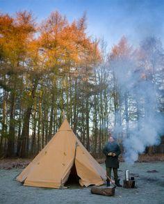 norse lavvu and a volcano kettle (also notice the swanndri)