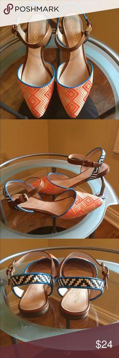 Aldo Orange Weave With Teal Trim Flats Aldo Orange Weave Design With Teal Trim Flats Aldo Shoes Flats & Loafers