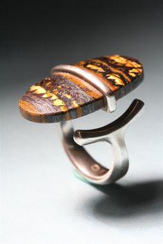 Ring | Torun Bülow-Hübe for Georg Jensen.  Sterling silver with golden brown stone. c. 1960s