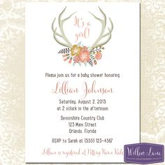 Floral Antlers Baby Shower Invitation  by WillowLaneStationery, $15.00