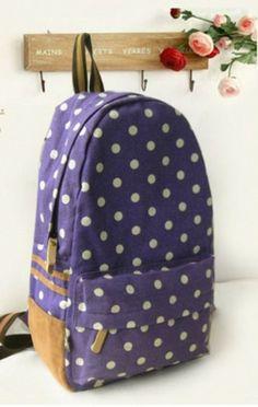 Purple Polka Dot Backpack For Students