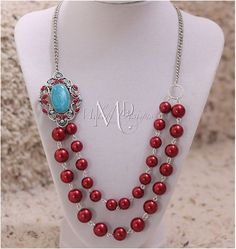 Red and Turquoise Pendant Glass Pearl Vintage Style Necklace | Melekdesigns - Jewelry on ArtFire