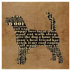 Canvas print with a typographic dog silhouette.  Product: Wall artConstruction Material: Canvas and woodD...