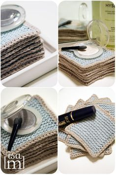 Makeup Habits - Carrés démaquillage Makeup has become one of the greatest allies of beauty for most of us, since it helps us to correct those small imperfections that appear on our face due to factors such as the passage of time or stress. Knitting Projects, Knitting Patterns, Crochet Patterns, Knitting Ideas, Learn To Crochet, Diy Crochet, Tunisian Crochet, Eye Makeup Glitter, Makeup Remover Pads