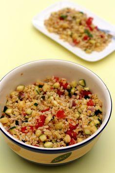 Salade complète végétarienne au blé, lentilles corail, courgette et tomates - 6SP Weight Watchers