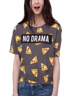 Don't Be So Dramatic Pizza Print Short Sleeve Shirt. Buy It Now For Only $19.41 at www.FayFashion.com
