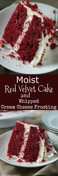 This red velvet cake is super moist and it has such a light and fluffy homemade cream cheese frosting.  I absolutely love making this cake every holiday.  Definitely a crowd pleaser in my book.